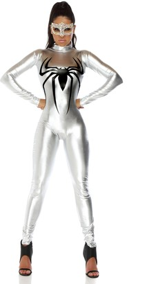 Forplay Women's Metallic Mock Neck Catsuit with Spider Screen Print