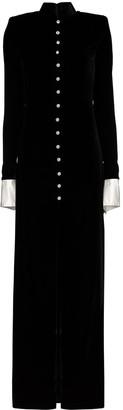 Alessandra Rich High Neck Velvet Maxi Dress