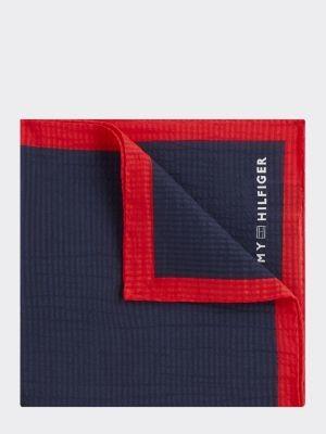 Tommy Hilfiger Cotton Silk Contrast Trim Pocket Square