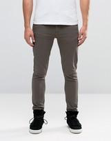 Asos Super Skinny Jeans In Khaki