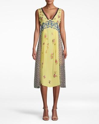 Nicole Miller Lotus Life Embellishment V-neck Midi Dress