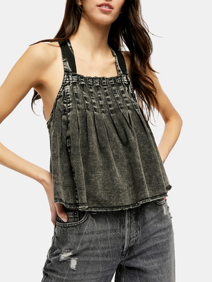 Free People Marina Square Neck Denim Top