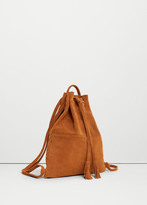 MANGO Leather Backpack