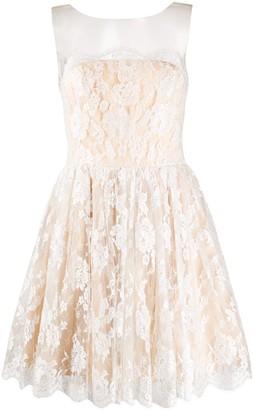 Parlor Tulle-Yoke Lace Mini Dress