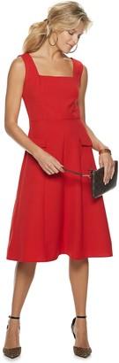 Sharagano Women's Squareneck Fit & Flare Midi Dress