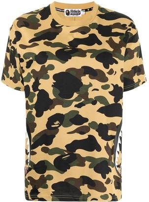 A Bathing Ape Shark motif camouflage-print T-shirt