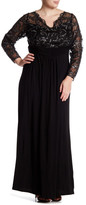 Marina Sheer Beaded Lace Long Sleeve Gown (Plus Size)
