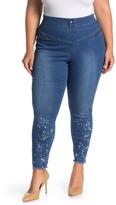 Hue Splatter Print Raw Hem Leggings (Plus Size)