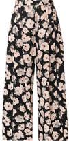 Proenza Schouler Cropped Floral-print Satin-crepe Wide-leg Pants - Black