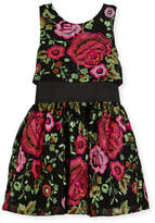 Zoe Valentine Elastic-Waist Rose-Print Dress, Black, Size 7-16