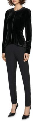 Cue Velvet Zip Front Peplum Jacket