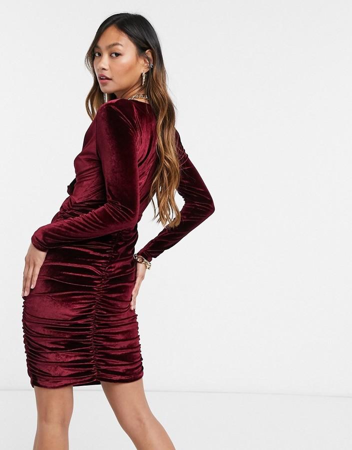 Thumbnail for your product : Forever U velvet wrap midi dress in burgundy
