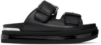 Alexander McQueen Black Trompe LOeil Flat Sandals
