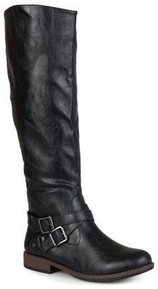 Brinley Co. Women's Wide Calf Round Toe Buckle Detail Boots