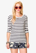 FOREVER 21 Striped 3/4 Sleeve Top