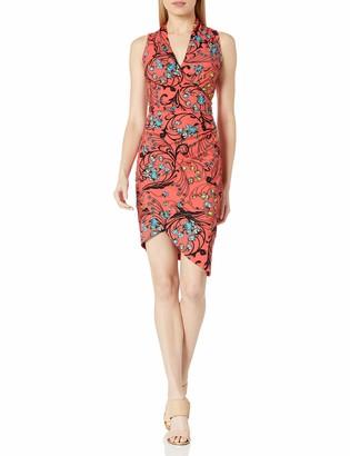 Nicole Miller Women's Floral Swirl B V Neck Tuck Dress