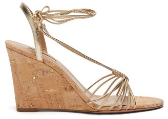 Aquazzura Whisper 85 Metallic Wedge Sandals - Womens - Light Gold