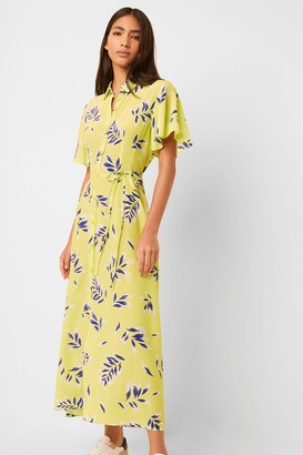 French Connenction Andini Drape Printed Midi Shirt Dress