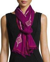 Eileen Fisher Diamond-Print Organic Cotton Jamdani Scarf, Boysenberry