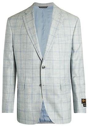 Saks Fifth Avenue Wool, Silk Linen Windowpane Jacket