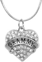 Gift Jewelry By Rachel Olevia Mother's Day Gift for Grammy Necklace Engraved Gift Jewelry For Grammy Crystal Adorned Heart Shaped Pendant Snake Chain Necklace Gift for Mom or Grandma Colorless