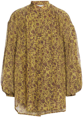 Zimmermann Gathered Crinkled Floral-print Cotton And Silk-blend Gauze Blouse
