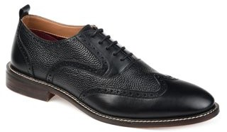 Tuck & Von Mens Genuine Leather Textured Wingtip Oxford