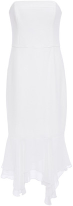Halston Strapless Stretch-cady And Chiffon Dress
