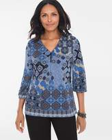 Chico's Emotional Medallion Button-Detail Top