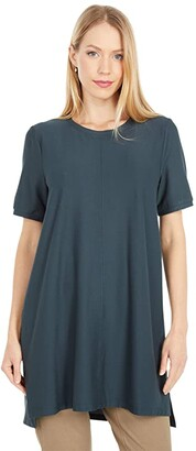 Eileen Fisher Crew Neck Short Sleeve Tunic (Forest Night) Women's Clothing