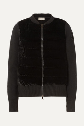 Moncler Wool And Cashmere-blend And Quilted Velvet Cardigan - Black