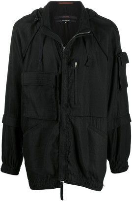 Ziggy Chen Hooded Layered-Sleeve Jacket