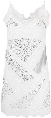 Ermanno Scervino Stud-Embellished Lace Minidress