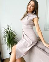 Thumbnail for your product : Little Mistress twist front drape pencil dress in mocha