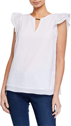 MICHAEL Michael Kors Short-Sleeve Lace-Trim Top