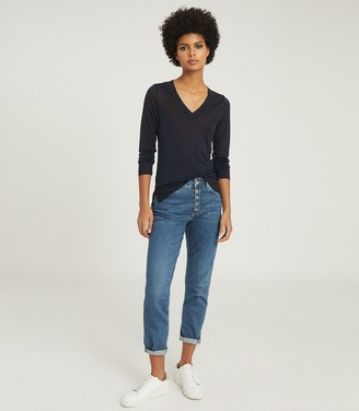Reiss SYLVIE V-NECK TOP Navy