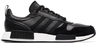 adidas black Rising Star R1 leather and suede sneakers
