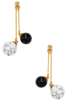 Noir Black & White Turquoise Ball Drop Earrings