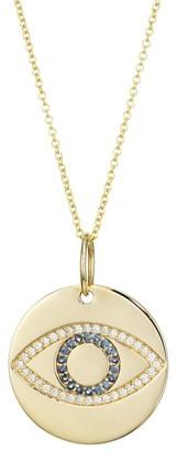 Nina Gilin 14K Yellow Gold, Diamond & Sapphire Evil Eye Disc Pendant Necklace