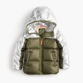 J.Crew Girls' colorblock marshmallow puffer jacket in metallic