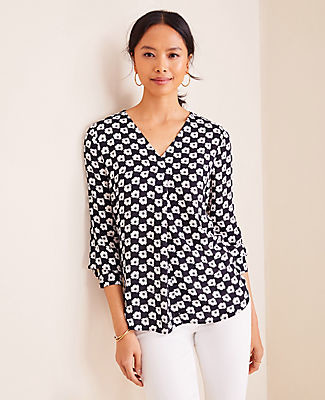 Ann Taylor Petite Poppy Check Pleated Mixed Media Top