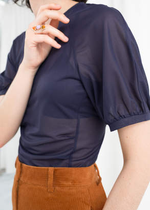 And other stories Sheer Puff Sleeve Top