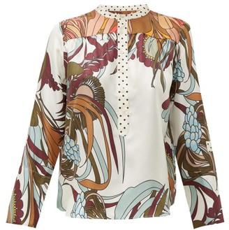 La Prestic Ouiston Romee Floral-print Silk-twill Shirt - Womens - White Multi