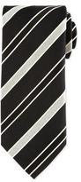 Eton Striped Silk Satin Tie, Black
