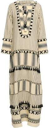 Dodo Bar Or Tasseled Embroidered Striped Cotton-gauze Maxi Dress