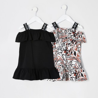 River Island Mini girls Black RI frill bardot dress 2 pack
