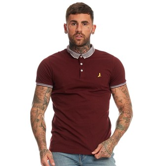 Brave Soul Mens Glover Contrast Collar Polo Burgundy