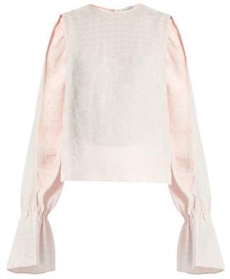 Osman Petra Round-neck Long-sleeved Jacquard Top - Womens - Pink