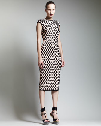Alexander McQueen Honeycomb Cap-Sleeve Midi Dress, Nude/Black