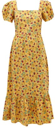 HVN Fromer Fruit-print Cotton-blend Long Dress - Womens - Yellow Print